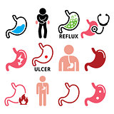 Stomach disease- reflux, ulcer vector icons set