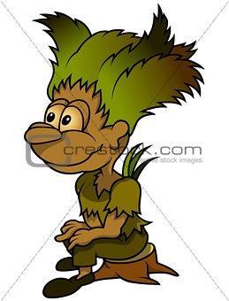 Forest Elf Sitting On Stump
