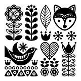 Finnish folk art pattern - Scandinavian, Nordic style, black and white