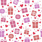 Seamless vector pattern, gift boxes with hearts
