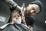 Funny shaving of little boy