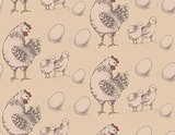 seamless pattern of roosters