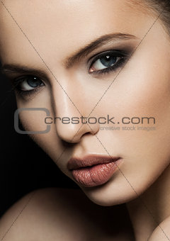 Beautiful woman model portrait with red lips closeup