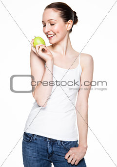 Beautiful fitness women holding healthy apple