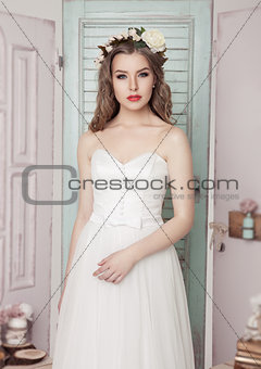 Beautiful young bride in  wedding romantic decoration