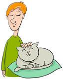 boy strokes cat cartoon