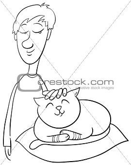 boy strokes cat coloring page