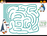 maze activity with penguins