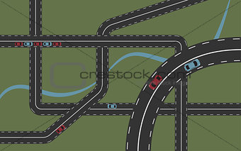 Background with roads and cars
