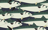 Seamless pattern mackerel close up