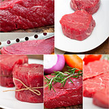 different raw beef cuts collage