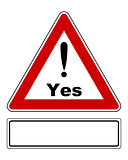 Attention sign Yes with exclamation mark and added sign