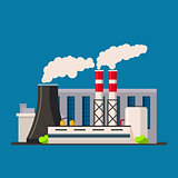 Factory building icon vector flat style. Manufacturing buildings.