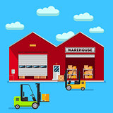 Warehouse infographic vector flat design.