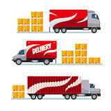 Fast delivery red trucks set with parcel boxes