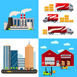 Warehouse, Factory building, city and transportation cars flat style concept