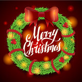 Christmas greeting card and background. wreath with garlands, lettering Vector
