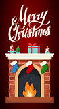 Christmas fireplace flat illustration isolated.