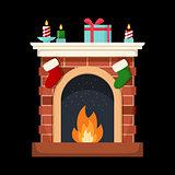 Christmas fireplace icon flat illustration isolated.