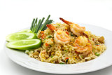 Fried rice with shrimp ,Thai cuisine.