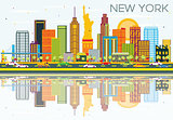 New York Skyline with Color Buildings, Blue Sky and Reflections.