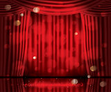 Open Red Curtains with Neon Lights and Copy Space.
