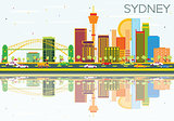 Sydney Skyline with Color Buildings, Blue Sky and Reflections.