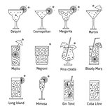 Set of outline various kinds of cocktails.