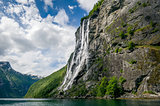 Geiranger fjord famous bug waterfalls, Norway.