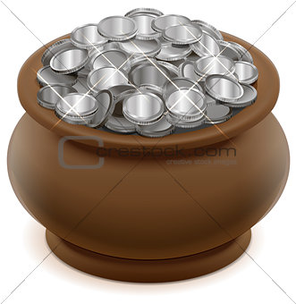 Clay ceramic pot with silver coins