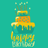 Happy birthday card with cake and candles. Vector birthday lettering on green background. EPS10