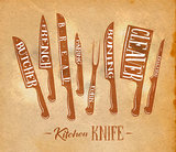 Kitchen meat cutting knifes poster craft