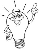 Outlined cartoon light bulb