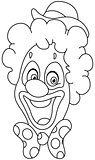 Outlined clown face