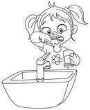 Outlined girl brushing teeth