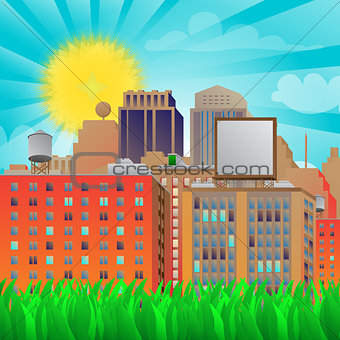 City in sunny background with grass.