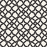 Vector Seamless Black and White Islamic Star Interweaving Line Geometric Pattern