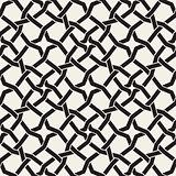 Vector Seamless Black and White Islamic Star Interweaving Line Geometric Pattern