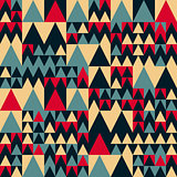 Vector Seamless Red Navy Blue Tan Colors Geometric Irregular Triangle Square Pattern