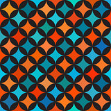 Vector Seamless Colorful Blue Orange Shades Circle Star Quilt Tiling Pattern on Dark Background