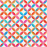Vector Seamless Colorful Circle Star Quilt Tiling Pattern on Light Background