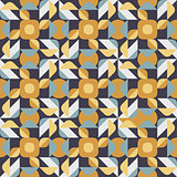 Vector Seamless Geometric Square Triangle Circle Shapes Yellow Blue Quilt Ethnic Pattern