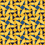 Vector Seamless Blue Yellow Geometric Triangle Rhombus Square Tiling Pattern