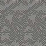 Organic Irregular Rounded Lines. Vector Seamless Black and White Pattern.