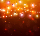 Colourful Glowing Christmas Orange Lights.