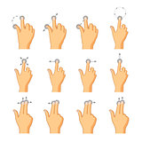 Flat colorful icons of touch gestures on white
