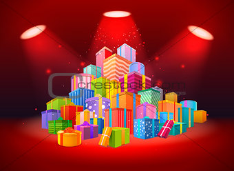 Bright scene with mountain of presents on red background