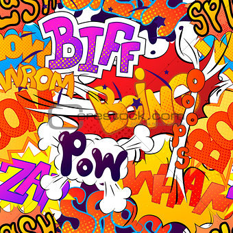 Bright multi colored comic sound effects, seamless pattern