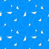 Paper airplanes fly on routes, seamless pattern