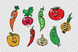 Set of fresh cute vegetable characters